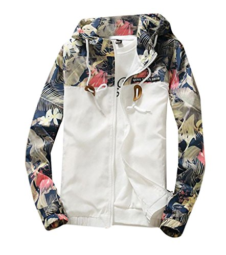 BYBU-Men Floral Print Hooded Windbreaker Jacket Sports Coat White XL