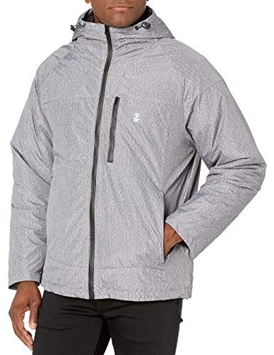 IZOD Men's Rip Stop Hooded 3-1 Systems Jacket, Charcoal/Heather, XX-Large