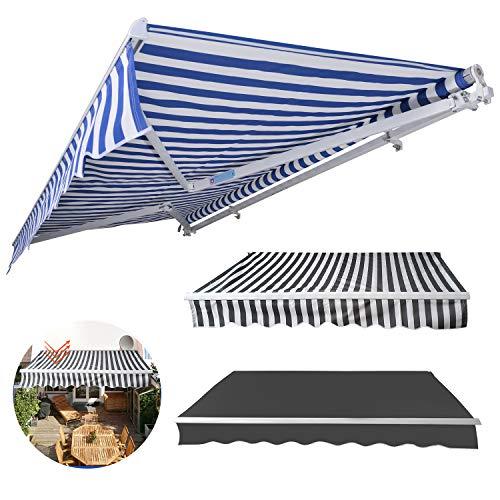 wolketon manuelle Gelenkarmmarkise Markise Sonnenmarkise Sonnenschutz, Anti-UV und wasserfest, Alu/Polyester, für Balkon und Veranda, 3,5 x 3 m, Blau/Weiß Gestreift