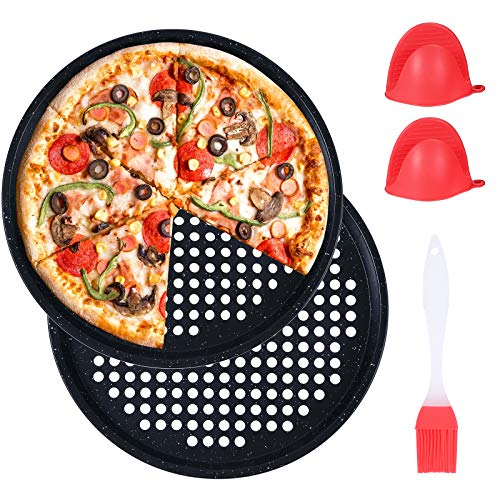 2 Pack Non-Stick Pizza Pan, 13 inch Pizza Tray Carbon Steel Round Pizza Bakeware Set,Dishwasher Safe Pizza Pan Set for Restaurants and Homemade Pizza Baking(33cm 12.9inch)