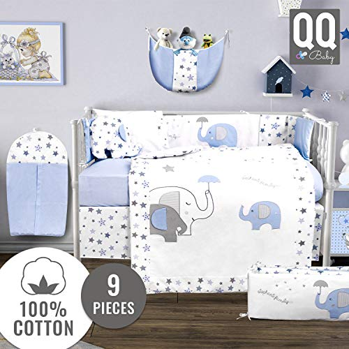 QoupQuru Baby Crib Bedding Set - 100% Turkish Cotton - 9 Piece Nursery Crib Bedding Sets for Boys & Girls - Elephant Design - 4 Color Variations by QQ Baby (Pink & Gray)
