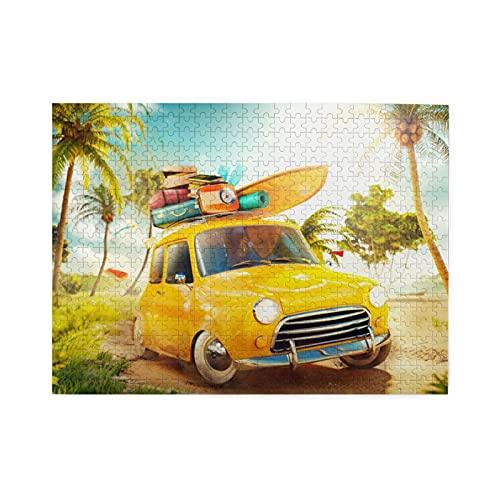 GEHIYPA Puzzle da 500 Pezzi,Divertente Auto retrò con tavola da Surf e valigie su Una Spiaggia con Palme Viaggio Estivo,Grande Gioco di Puzzle per Famiglie per Adulti e Adolescenti