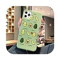 KASHINOサマーフルーツフォンケースFor iphone XR 11 pro max 7 6s 8 Plus XSMAXかわいい面白いアボカドカップルフルーツソフトTPUケースカバー-green- G926-For iphone 5 5S