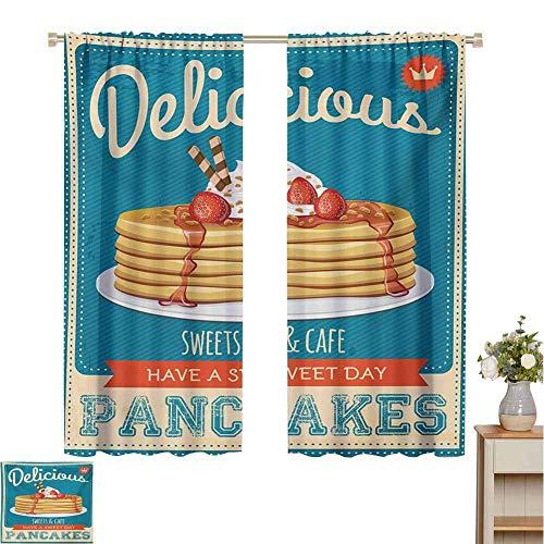 N / A Decor Tende Impermeabili Vintage, deliziosi Pancake con Crema e marmellata Design volantino...