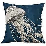 DOLDOA Haushalt Wohnen,Meereslebewesen Korallenmeeresschildkröte Seepferdchen Wal Oktopus Kissenbezug Kissenbezug (MehrfarbigA)