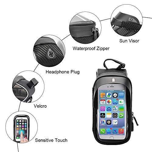 Jooheli Fahrrad Rahmentasche, Wasserdicht Rahmentasche Fahrrad Rahmentasche mit TPU-Touchscreen, wasserdicht handyhalterung für Smartphone unter 6 Zoll und Kopfhörerloch - 3