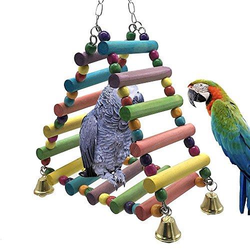 OSPet Juguete de masticar para loro colorido, escalera de madera, puente arco iris, jaula de...