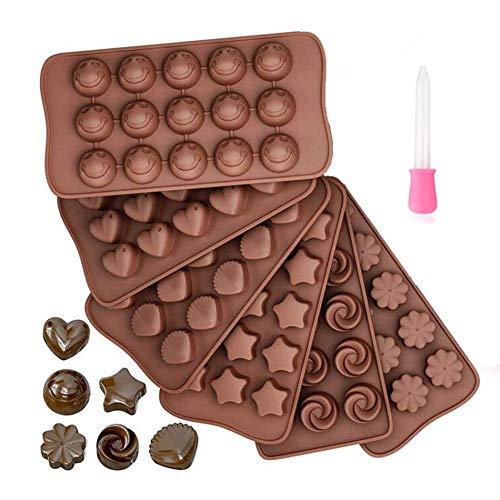 Queta Molde Chocolate Silicona, 6 Piezas Moldes de Caramelo Antiadherentes sin BPA...