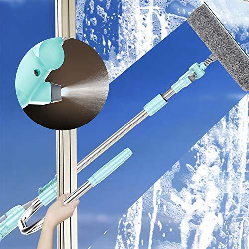 Limpiacristales 3 En 1 con Limpiador De Ventanas con Cabezal Rociador Y Poste De Extensión Y Depurador De Microfibra, Limpieza Vidrio Uso Múltiple para Duchas, Automóviles Y Ventanas Altas
