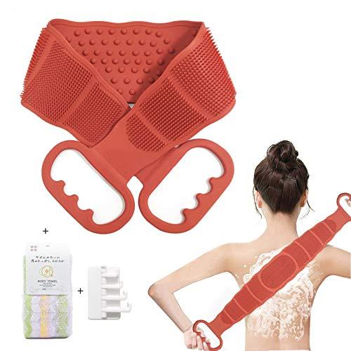 ボディブラシ 背中,シリコンバスブラシ あかすり ボディーブラシ 背中 ブラシ,体洗う 効果的な背中ニキビ取り,角質除去 足 血行促進 ボディタオル 柔らかい ボディスポンジ,オレンジ色