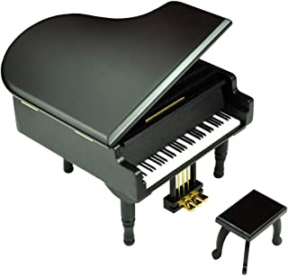 Bankour Play (Love Me Tender) Wooden Piano Music Box with Sankyo Musical Movement (Black)
