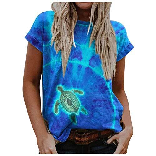 Camiseta de verano para mujer con estampado de océano, multicolor, informal, elegante, de manga corta, cuello en V, blusa para mujer, blusa, blusa, blusa, azul B, XL