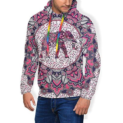 Herren Hoodies mit indischem Om-Blumenmuster, Mandala-Elefanten-Motiv, 3D-Druck, lange Hemden, lässiges Top Sweatshirts Gr. Large, Schwarz
