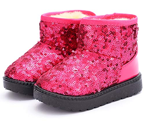 DADAWEN Boy's Girl's Warm Winter Sequin Waterpoof Outdoor Snow Boots Pink US Size 8 M Toddler