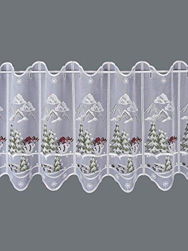 SeGaTeX home fashion Weihnachts-Scheibengardine Kleiner Schneemann Wintergardine Plauener Stickerei