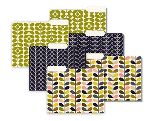 Orla Kiely Mid-Century Stems Letter Size 1/3 Cut 6 Count File Folder Set