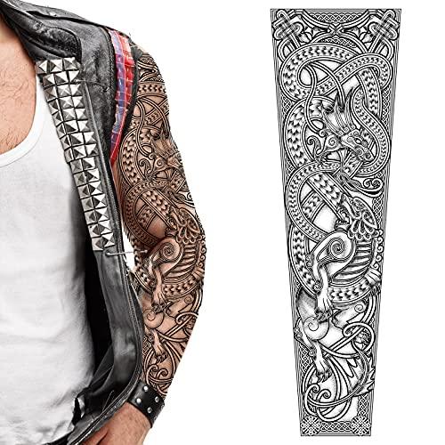 Tatodays 2 x Temporary tattoo full arm viking celtic nordic tribal dragons tribal stick on body art transfer for women and men cosplay halloween adult temp sleeve stick on body art tattoo