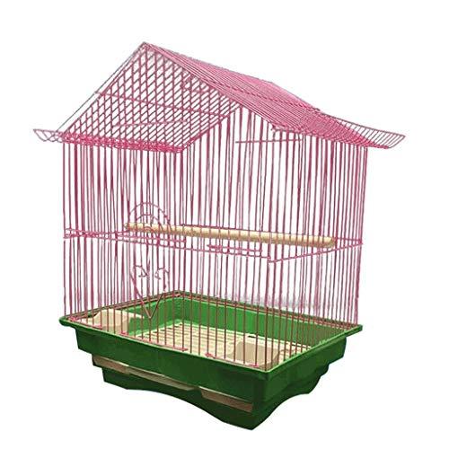 SSG Home La Jaula de pájaro de Interior y Exterior Nest Ornamental pájaro de Metal Creativa Jaula Decoración pequeño pájaro Suministros Cría de Mascotas (Color : Pink)