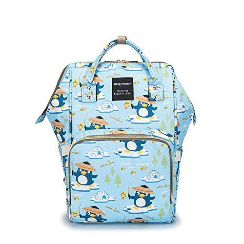qiqiu Borsa Mamma Multifunzione Borsa per bebè, borsa per pannolini, borsa per biberon-Blu pinguino Borsa Mamma Neonato