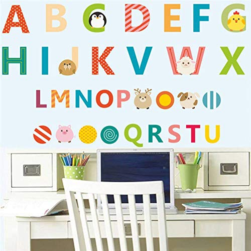 TIVOPA Coloré Bande Dessinée 26 Anglais Lettres Alphabet Stickers Muraux pour Enfants Chambres Nursery Room Decor Sticker Art Affiche Enfants Cadeau