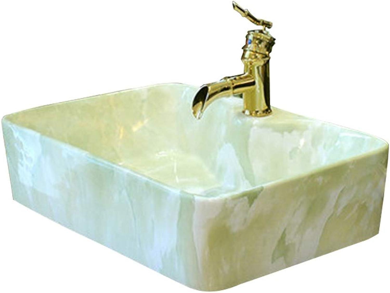 YLYWCG Aufsatzbecken Keramikwaschbecken (Badezimmer) Rechteckiges Keramikwaschbecken (48 x 37 x 15 cm, ohne Wasserhahn)