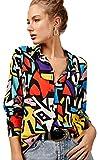 Blusas para mujer, estilo casual, manga larga con botones, tallas XS-3XL, Mezcla de colores rojo y amarillo., M