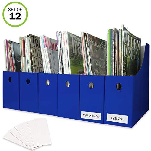 Evelots Magazine File Holder-Organizer-Full 4 W-Blue-with Labels-Set/12