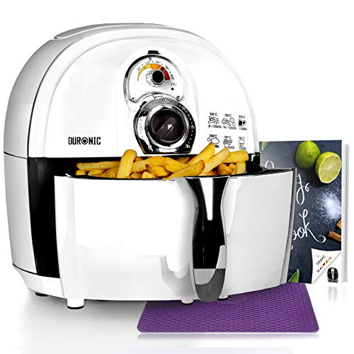 Duronic AF1 /W (Generalüberholt) Heißluftfritteuse | Airfryer | Multifryer | Fritteuse | 1500 Watt | 2,2L Korb - fettfrei Frittieren, Grillen, Backen + kostenloses Kochbuch mit Rezepten