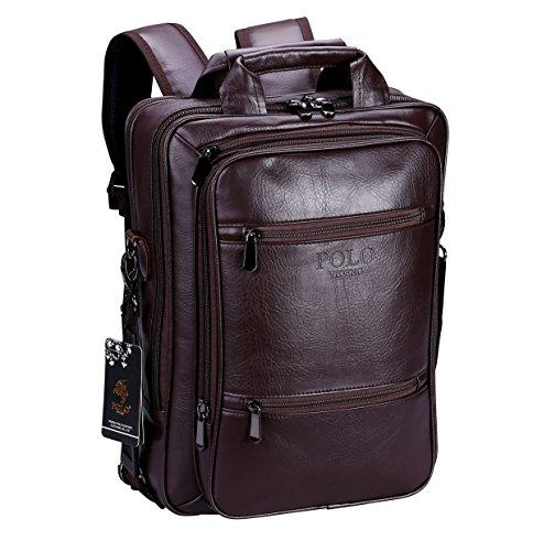 VIDENG POLO Zaino in Pelle Borse da viaggio Crossbody Borsa a tracolla Messenger Per 13 15 17 pollici notebook MacBook (Marrone-s6)