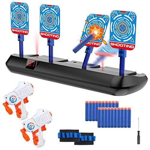 Electronic Shooting Target for Nerf Guns ,Electric Scoring Auto Reset Target with Foam Dart Toy Gun, Shooting Digital 4 Targets, Ideal Gift Toys for 5,6,7,8,9,10+ Years Old Kids, Boys & Girls