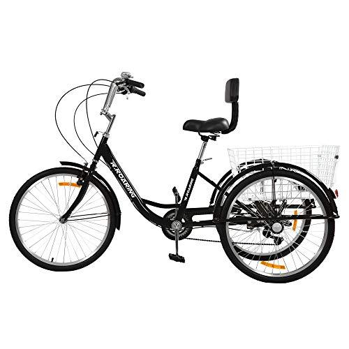 R.ROARING Adult Tricycles Three Wheel Trike Bike Cruiser 7 Speed, 24 inch Wheels, 3 Wheel Bicycles Cruise Trike with Cargo Basket for Seniors, Women, Men