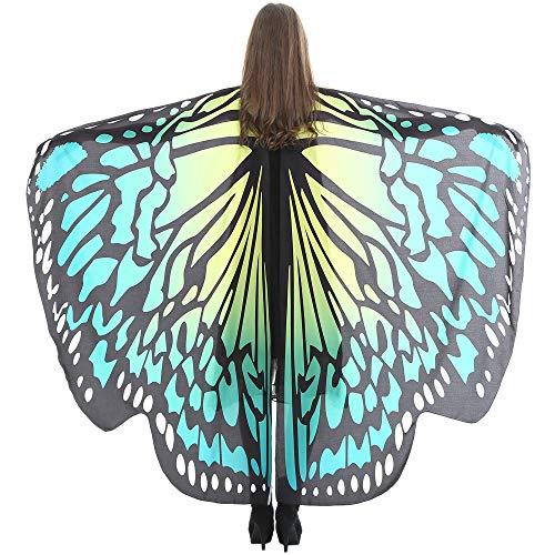 WOZOW Damen Schmetterling Schmetterlingsflügel Kostüm Faschingkostüme Schal Tuch Poncho Umhang für Party Cosplay Karneval Fasching (Türkis)