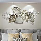 XLST Extravagante Wanddeko Industrial Design Metall Wandskulptur Handgefertigt Blätter Moderne Wandbild Wandrelief 143X60cm