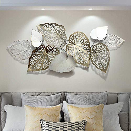 Metal Wall Art Creative Handmade Leaves, Nature Home Art Decoration & Modern Light Luxury Kitchen Gifts for Study Living Room Bedroom Artwork Hotel Decor Indoor Outdoor