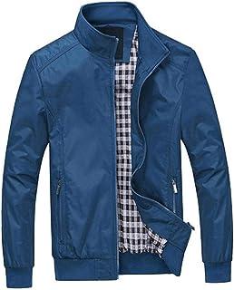 ZongSen Men's Casual Jacket Lapel Large Size Slim Fit Solid Color Lightweight Jacket Warm Coat