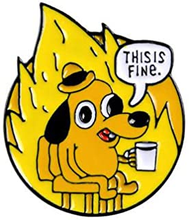 Shinmond 3Styles THIS IS FINE Enamel Pins Custom Cartoon Dog Brooches Lapel Pin Shirt Bag Funny Animal Badge Jewelry Gift ...