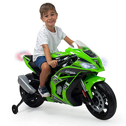 INJUSA - Moto Ninja Kawasaki ZX10 at 12V with Hand Accelerator Input for Mp3 and Stabilizing Wheels Recommended for Children +3 Years