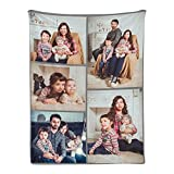Custom Blanket Personalized Throw Blanket with Photo College Soft Flannel Blanket Customized Souvenirs Gifts for Baby Dad Mom Grandma Grandpa Friends Couple Wedding and Pets (5 Photos, 30x40 Inch)