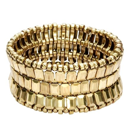 Brede stretch armband goudkleurig – goudkleurige armband met gouden parels – modieuze armbanden
