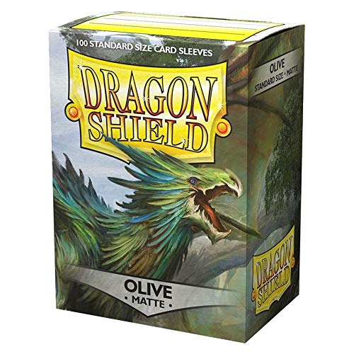 10 Packs Dragon Shield Matte Olive Green Standard Size 100 ct Card Sleeves Display Case