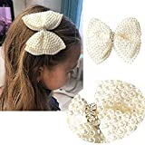 Aivivo White Rhinestone Hair Bows for Girls Cute Pearls Hair Bow With Alligator Hair Clips Beads Hairgrip For Kids Toddlers Teens Children(1Pcs)
