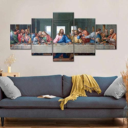 5 Piezas Cuadro La Última Cena 5 Piezas Impresión En Lienzo Tablero del Moderno Cuadro De Pintura Póster De Arte Sala De Decoración Hogareña