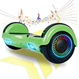 FLYING-ANT Hoverboard Self Balancing Scooters 6.5' Flash Two-Wheel Self Balancing Hoverboard with Bluetooth Speaker and LED Lights for Kids and Adults Gift(Carbon Green)