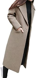 Macondoo Womens One Button Winter Overcoat Woolen Warm Trench Pea Coat
