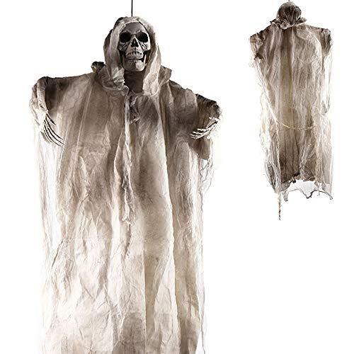 PIKOVIC Halloween Deko Figuren Lebensgroß 180cm Groß Geist Gespenst Hängend Herrlich Gruselig Skelett Figur Horror Dekoration für Halloween Mottoparty (180cm Weiß)