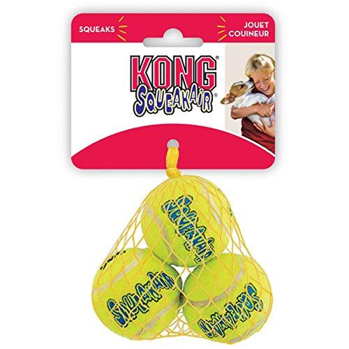 KONG – Squeakair Balls – Premium-Hundespielzeug, Quietschende Tennisbälle, Zahnschonend (3er–Pack) – Für Kleine Hunde