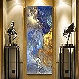 Talla Grande Diamond Painting por Número Kit Nubes azules amarillas DIY 5D Diamante Pintura Rhinestone Bordado de Punto de Cruz Lienzo Art Craft Decoración de Pared del Hogar -Round drill,50x100cm