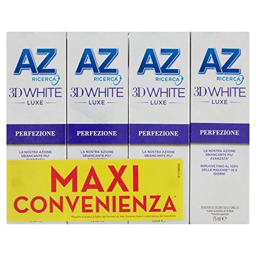 AZ Dentifricio 3D White Luxe Perfezione con Azione Sbiancante Denti Professionale, Rimozione Macchie e Denti più bianchi in 3 Giorni, 4 x 75ml
