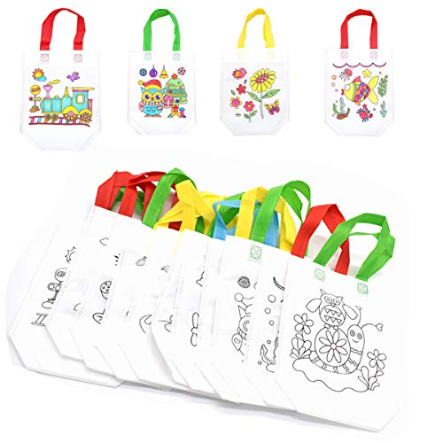 Yueser 20pcs Bolsas para Colorear, Bolsa Graffiti DIY Bolsas Infantiles para Colorear para Regalos de Cumpleaños,Comuniones,Escuelas Celebraciones(Entrega al Azar)