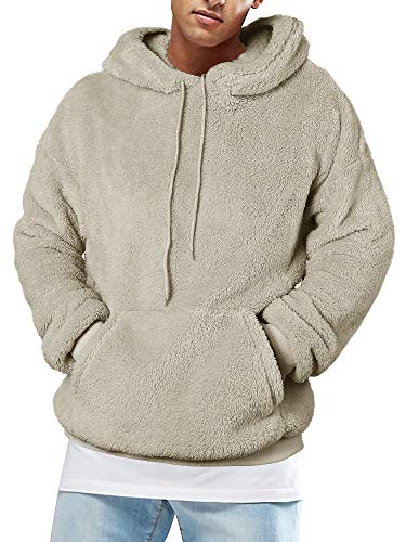 Runcati Mens Fuzzy Sherpa Pullover Hoodie Sweatshirts Long Sleeve Sport Front Pocket Fall Outwear Winter Hooded (Medium, 01 Picture Color)